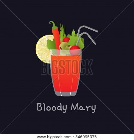 Vector cartoon illustration of Bloody Mary alcohol cocktail isolated on black background. Bloody Mary with lemon, pepper, straw and greens in glass - illustration for alcoholic menu, restaurants stock photo