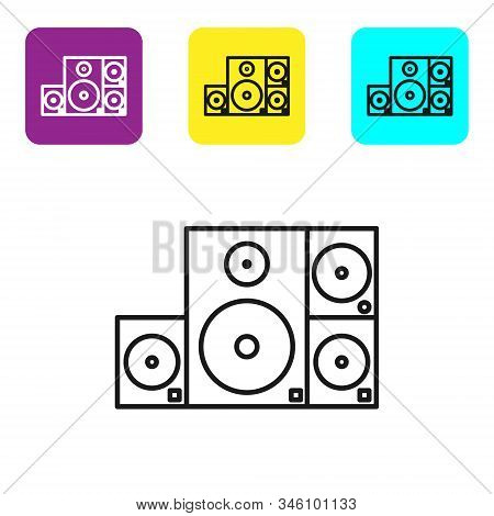 Black line Stereo speaker icon isolated on white background. Sound system speakers. Music icon. Musical column speaker bass equipment. Set icons colorful square buttons. Vector Illustration stock photo
