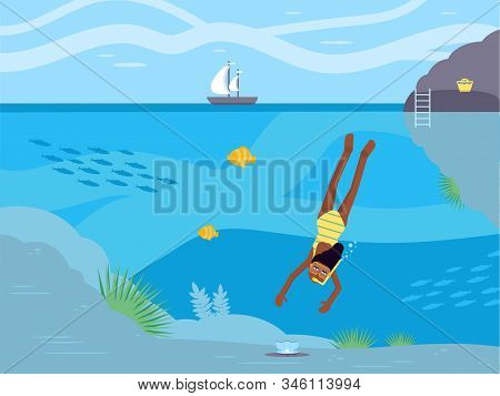 Scuba diving hobby flat vector illustration. African american woman in swimming mask cartoon characters. Diver girl searching treasure, oyster with pearl on sea bottom. Summer underwater activity stock photo