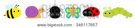 Insect set line. Ladybug ladybird, butterfly, green caterpillar, spider, honey bee, snail. Cute cartoon kawaii baby animal character. Flat design. Isolated. White background. Vector illustration stock photo