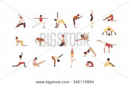 People doing yoga flat vector illustrations set. Male and female cartoon characters exercising. Men and women practicing Asana isolated collection on white background. Physical activity, workout. stock photo