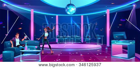 Young couple at night club party, man sitting on couch drinking alcohol cocktail, woman dancing in front of him. Boyfriend and girlfriend dating in nightlife restaurant. Cartoon illustration stock photo
