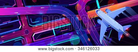 Top view of airplane flying above night city transport interchange. Plane journey over modern megapolis with neon glowing skyscrapers, moving cars, old film noise effect. Cartoon illustration stock photo