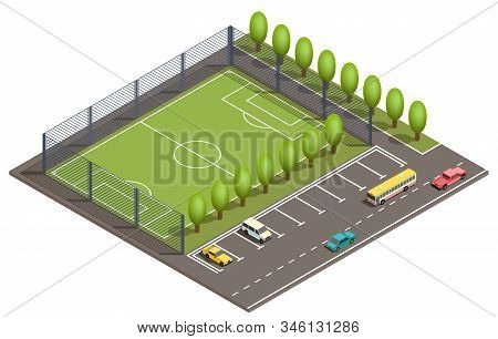 3d isometric field for football games, parking places for cars and road with vehicles. Green field for sport near asphalt way, urban map, city concept. Isometry isolated on white background. stock photo