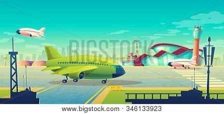 cartoon illustration, green airliner, jet on runway. Takeoff or landing of commercial airplanes against background of blue sky or airport building with control tower. Concept advertising banner stock photo