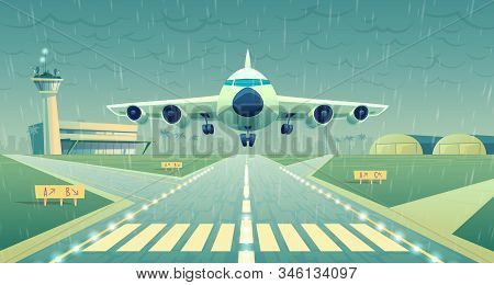 cartoon illustration, white airliner, jet over runway. Takeoff or landing of commercial airplane in difficult weather conditions on background airport building and heavy rain. Concept banner stock photo