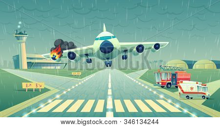 mayday landing of the plane on a strip near of terminal. Crash of flight in bad weather, wing in fire. Ambulance, firefighter cars on asphalt runway, accident case. Danger situation, stress. stock photo
