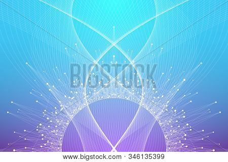 Abstract fiction vector illustration quantum computer technology. Sphere explosion background. Deep learning artificial intelligence. Big data visualization algorithms. Waves flow. Quantum explosion. stock photo