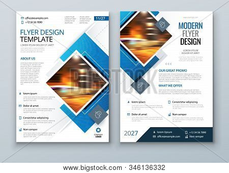 Blue Flyer Template Layout Design. Corporate Business Flyer, Brochure, Annual Report, Catalog, Magazine Mockup. Creative Modern Bright Flyer Concept with Square Shapes stock photo