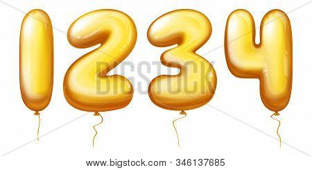 3d realistic inflatable balloons in numbers from one to four. Golden rubber or foil product with helium isolated on white background for different celebrations - anniversary, birthday. stock photo