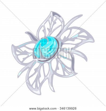 Elegant floral carved platinum, white golden or silver brooch, charm or pendant with five petals and light blue transparent aquamarine or topaz in centre. Beautiful accessory. Realistic vector. stock photo