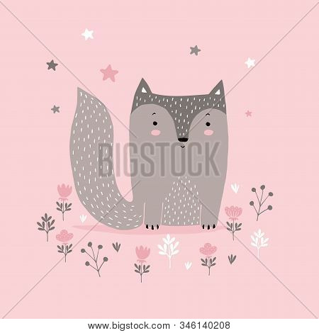 Cute Brown Little Fox Sitting Among Pink Flowers.Simple Nursery Art with Funny Baby Fox Isolated on a Light Pink Background.Lovely Illustration for Card, Invitation Wall Art,Baby Girl Room Decoration. stock photo