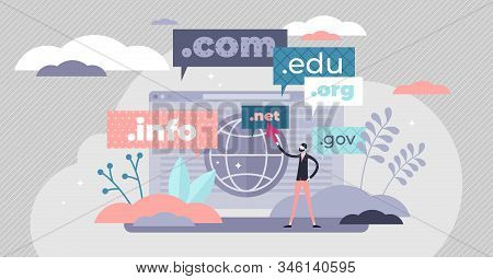 Domain name concept flat tiny person vector illustration. Stylized abstract web address registry scene with top level names. Computer screen design with globe and businessman pointing with the cursor. stock photo