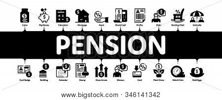 Pension Retirement Minimal Infographic Web Banner Vector. Money in Glass Bottle And Box, Calculator And Clock, Pension Finance Concept Illustrations stock photo