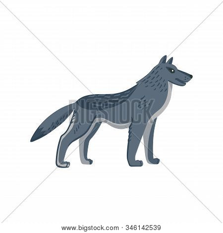 Extinct animals. Dire wolf. Prehistoric extinct american wolfl. Flat style vector illustration isolated on white background. stock photo