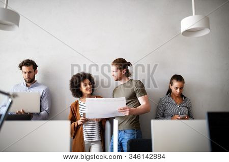 Business meeting, brainstorming and teamwork by business people in office stock photo