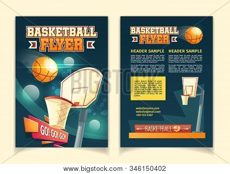 cartoon background with flyers to invite on basketball game. Booklets with court, sports arena in lights of spotlights. Brochure with competition, championship isolated on white backdrop. stock photo