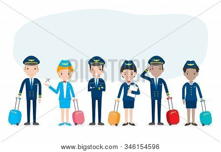 pilot and stewardess. set of officers and flight attendants Stewardesses  isolated on white background, pilot and air hostess Vector Illustration. stock photo