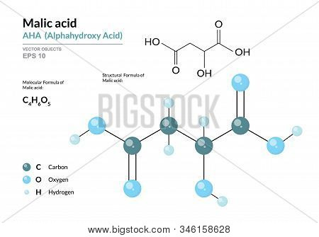 Citric acid. AHA Alphahydroxy acid. Structural chemical formula and molecule 3d model. Atoms with color coding. Vector illustration stock photo