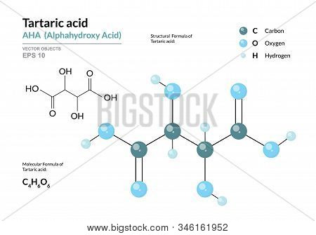 Tartaric acid. AHA Alphahydroxy acid. Structural chemical formula and molecule 3d model. Atoms with color coding. Vector illustration stock photo