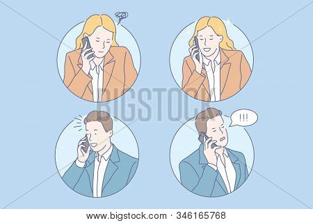 Communication, negotiation, good news, bad news set concept. Young business man got good news. Young businesswoman got bad news. Boy and girl communicate, negotiate with each other. Simple flat vector stock photo