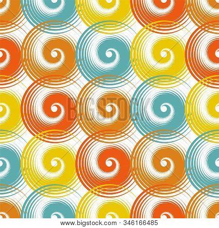 Spiral swirls modern seamless pattern vector design. Round spiral scrolls, circle swirls geometric elements, curly vortex tiles. Cute swirl scrolls abstract background seamless pattern. stock photo