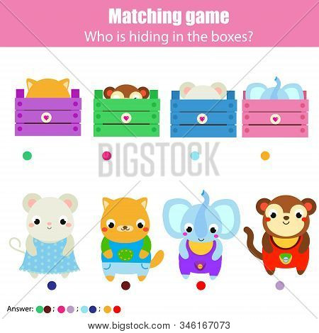 Educational game for children, kids activity. Match cute animals with boxes stock photo