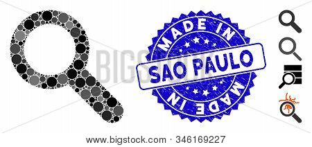 Mosaic search icon and grunge stamp seal with Made in Sao Paulo text. Mosaic vector is designed with search icon and with randomized spheric spots. Made in Sao Paulo stamp seal uses blue color, stock photo