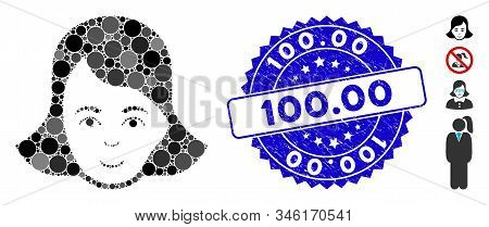 Mosaic lady face icon and rubber stamp watermark with 100.00 caption. Mosaic vector is composed with lady face icon and with scattered round items. 100.00 stamp uses blue color, and distress texture. stock photo