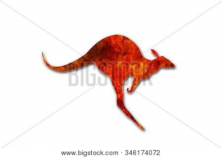 Flaming kangaroo jumping isolated on white background. Kangaroo escaping from a fire in Australia forests. Conceptual: save kangaroos, global warming, natural disaster, climate change. stock photo