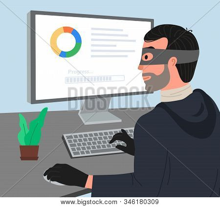 Hacker attack vector illustartion. Hacker working on a code. Hacker writes viruses and hacks a computer. Dos attack, Internet phishing concept. stock photo