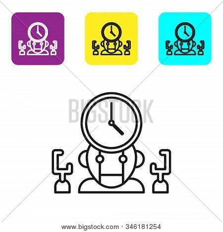Black line Robot and digital time manager icon isolated on white background. Time management assistance, workflow optimization help. Set icons colorful square buttons. Vector Illustration stock photo