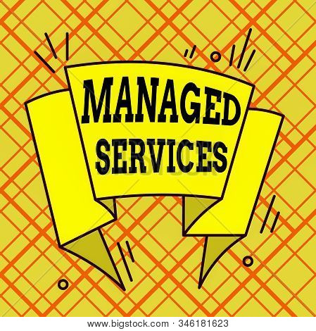 Writing note showing Managed Services. Business photo showcasing company that remotely analysisages customer s is IT infrastructure Asymmetrical uneven shaped pattern object multicolour design. stock photo