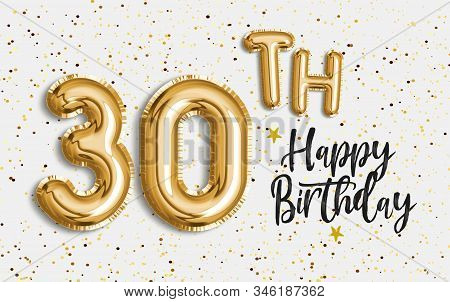 Happy 30th birthday gold foil balloon greeting background. 30 years anniversary logo template- 30th celebrating with confetti. Photo stock. stock photo