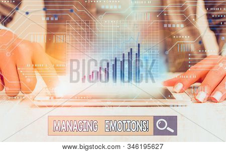 Writing note showing Managing Emotions. Business photo showcasing ability be open to feelings and modulate them in oneself. stock photo