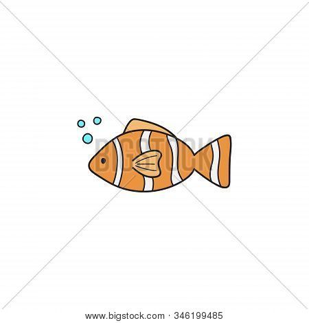 Clownfish cute vector illustration. Hand drawn outlined ocean, marine, sea orange, white and black stripped fish animal. Isolated. stock photo