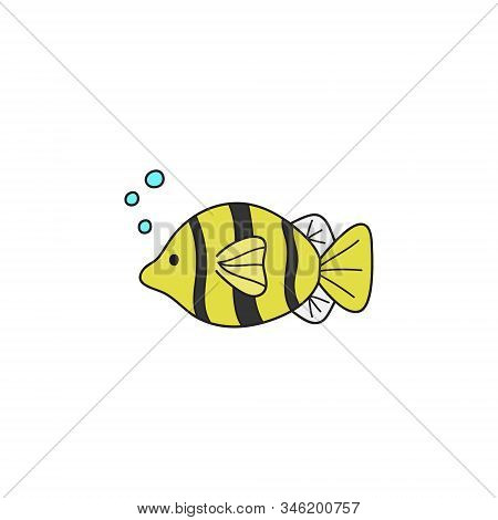 Fish cute vector illustration. Hand drawn outlined ocean, marine, sea yellow, white and black stripped fish animal. Isolated. stock photo