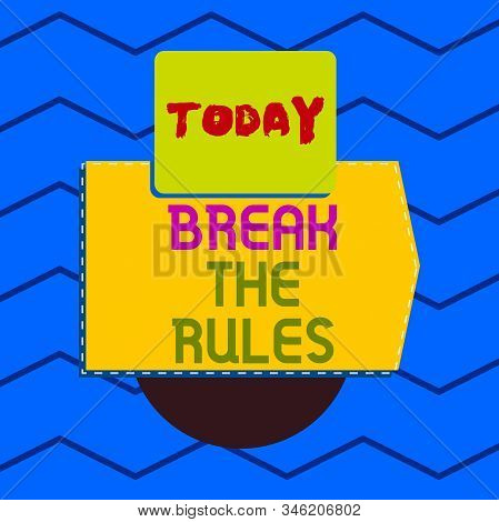Writing note showing Break The Rules. Business photo showcasing Make changes do everything different Rebellion Reform Electronic device with non symmetrical triangle for printing. stock photo