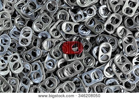Background of Aluminum cap can be used to make Prostheses legs, Aluminum cap can top view stock photo