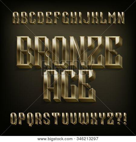 Bronze Age alphabet font. 3D vintage metal letters. Stock vector typescript for your design. stock photo