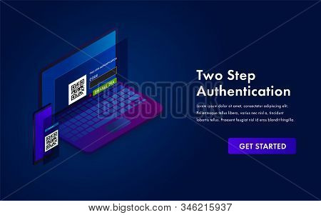 2-step authentication, two steps 2FA Verification SMS code password vector isometric concept. Secure and reliable access to the network. Smartphone and laptop with login form illustration stock photo