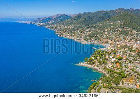 Rocky bay in Italy. Aerial drone view on Adriatic sea beach, Camogli, liguria. stock photo