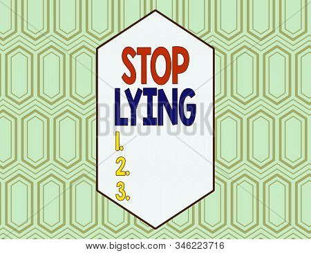 Conceptual hand writing showing Stop Lying. Business photo showcasing put an end on chronic behavior of compulsive or habitual lying Seamless Hexagon Tiles in Line Perspective Depth Deepness. stock photo