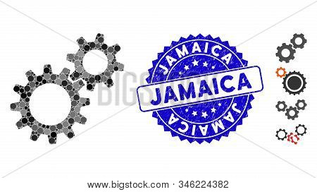 Mosaic reduction gears icon and rubber stamp watermark with Jamaica phrase. Mosaic vector is created with reduction gears icon and with scattered circle elements. Jamaica stamp seal uses blue color, stock photo