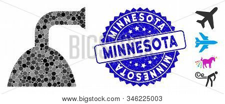 Mosaic shower jet icon and distressed stamp seal with Minnesota phrase. Mosaic vector is formed with shower jet pictogram and with random circle spots. Minnesota stamp seal uses blue color, stock photo