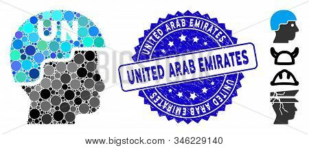 Collage united nations soldier helmet icon and corroded stamp seal with United Arab Emirates phrase. Mosaic vector is created with united nations soldier helmet icon and with random spheric spots. stock photo