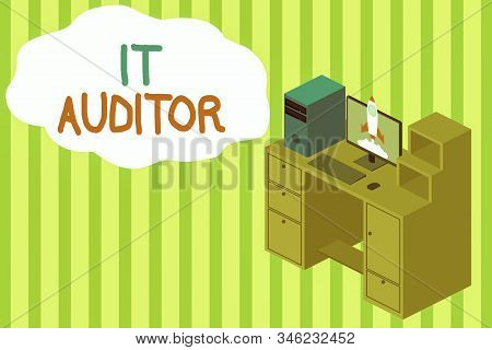 Handwriting text writing It Auditor. Concept meaning demonstrating authorized to review and verify the accuracy of the system Working desktop station drawers personal computer launching rocket clouds. stock photo