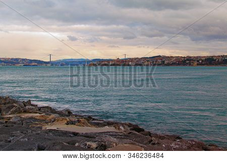 Picturesque landscape view of The Bosporus (Bosphorus or Strait of Istanbul) with famous The Bosphorus Bridge and The Maiden's Tower (Leander's Tower or Tower of Leandros). Travel and tourism concept. stock photo