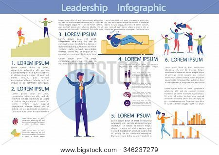 Leadership and Business Activity Infographics Set with People Characters Motivated for Success Achievements and Income Growth. Presentation Bundle with Graphs and Copy Space. Flat Vector Illustration. stock photo