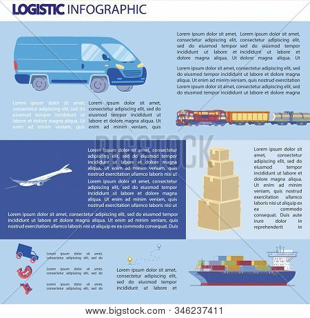 Logistics Infographics, Bulky Transportation. Different Types Transport for Transporting Goods over Long Distances. White Plane Flies in Blue Sky. Train Transports Containers with Goods. stock photo
